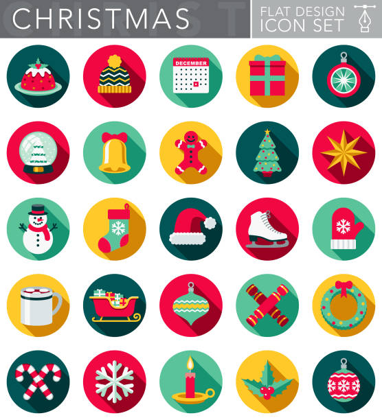 Christmas Flat Design Icon Set with Side Shadow A Christmas and holidays circular flat design style icon set with a long side shadow. File is cleanly built and easy to edit. Vector file is built in the CMYK color space for optimal printing. christmas icons stock illustrations