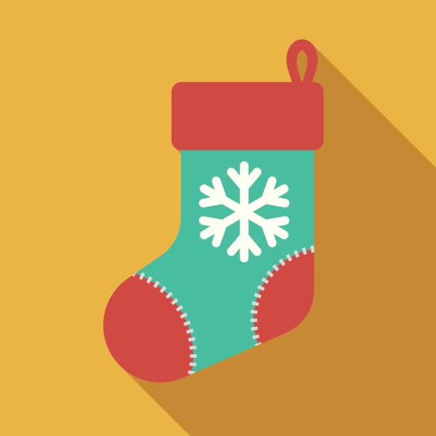 Christmas Flat Design Icon: Stocking A flat design style Christmas icon. File is cleanly built and easy to edit. christmas stocking stock illustrations