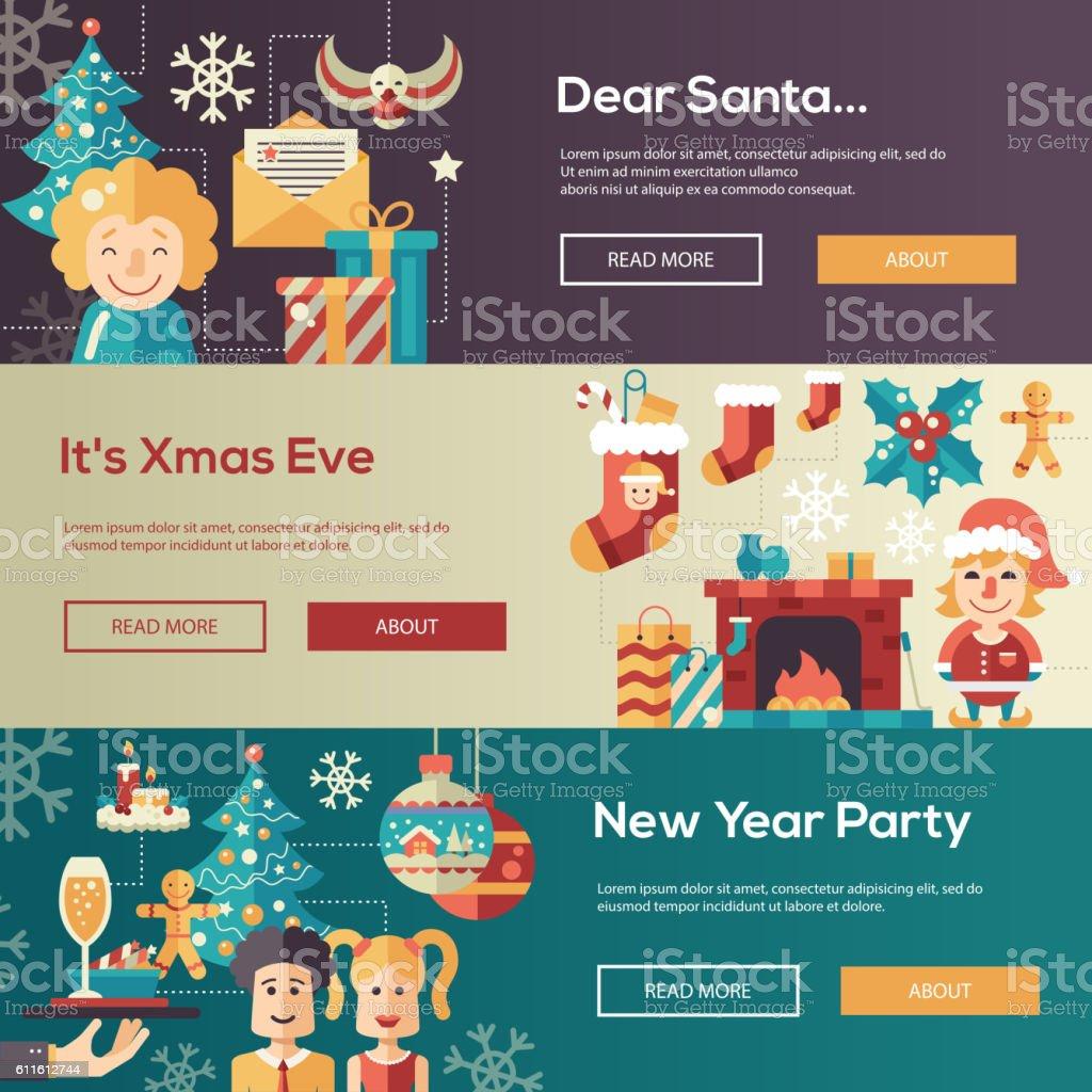 christmas flat design website banners illustration set お祝いの