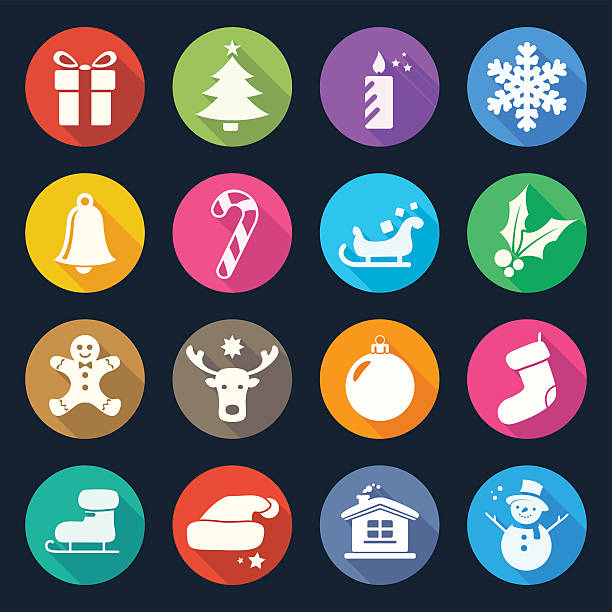 Christmas Flat Icons Set 2 vector art illustration