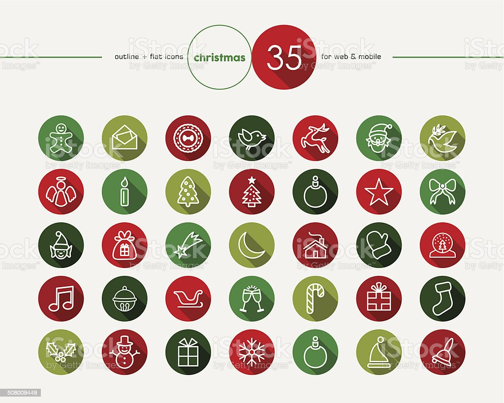 Christmas flat icons set royalty-free stock vector art