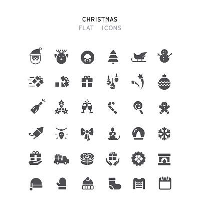 36 Christmas Flat Icons