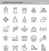 Christmas Flat outline line art Design Icon Set