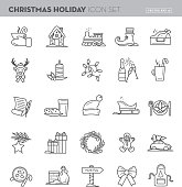 Christmas Flat outline line art Design Icon Set