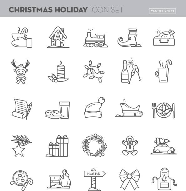 Christmas Flat outline line art Design Icon Set Vector illustration of a Christmas Flat outline line art Design Icon Set. north pole stock illustrations