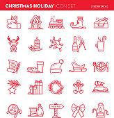 Vector illustration of a Christmas Flat outline line art Design Icon Set.