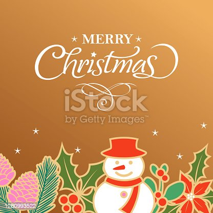 Celebrate the Christmas with colorful flowers and snowman on gold colored background