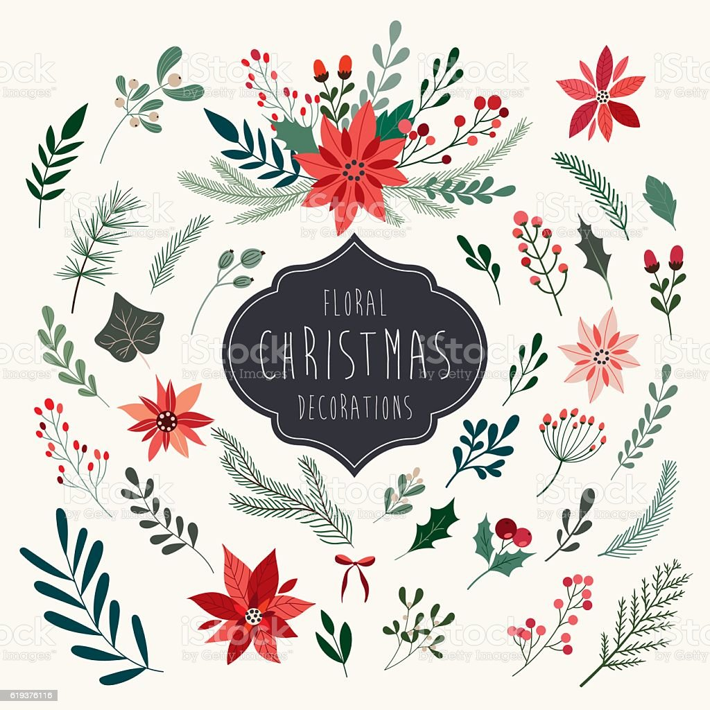Christmas floral collection vector art illustration