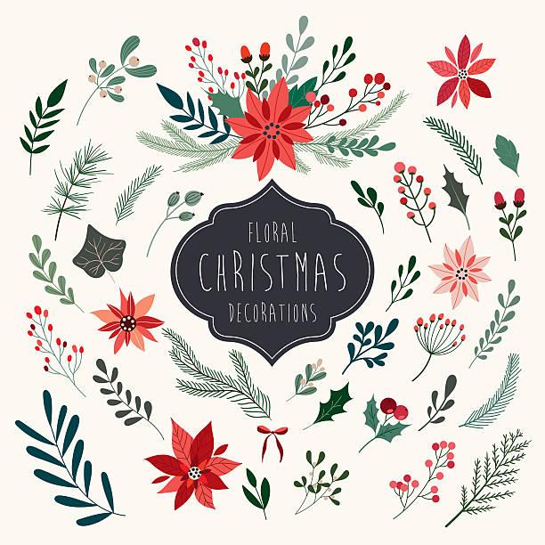 stockillustraties, clipart, cartoons en iconen met christmas floral collection - kerstster
