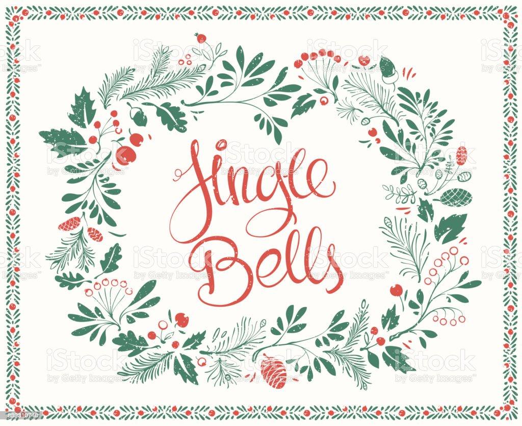 Weihnachten Blumen Rahmen Mit Schriftzug Jingle Bells Stock Vektor ...