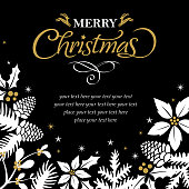 A greeting card for the Christmas night with flowers on the black background
