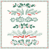 Decorative floral dividers and borders with mistletoe leaves, fir branches and twigs.
