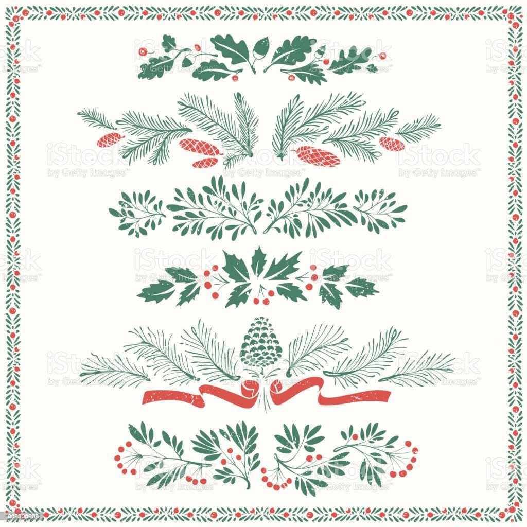 Weihnachten florale Ornamente mit Rahmen – Vektorgrafik