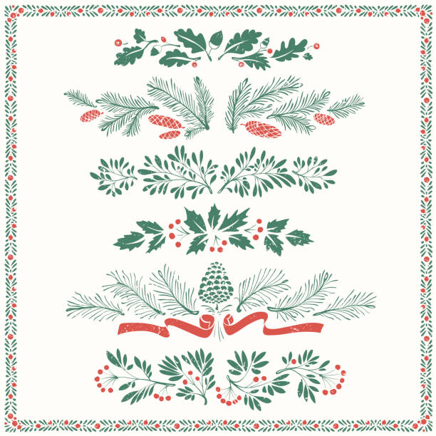 Christmas Floral Ornaments with Frame Decorative floral dividers and borders with mistletoe leaves, fir branches and twigs. christmas borders stock illustrations