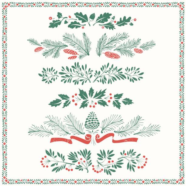 christmas floral ornaments with frame - gałązka stock illustrations
