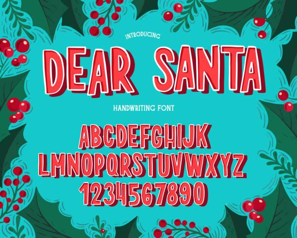 ilustrações, clipart, desenhos animados e ícones de fonte do natal. alfabeto do typography do feriado com ilustrações festivas e desejos da estação. - font
