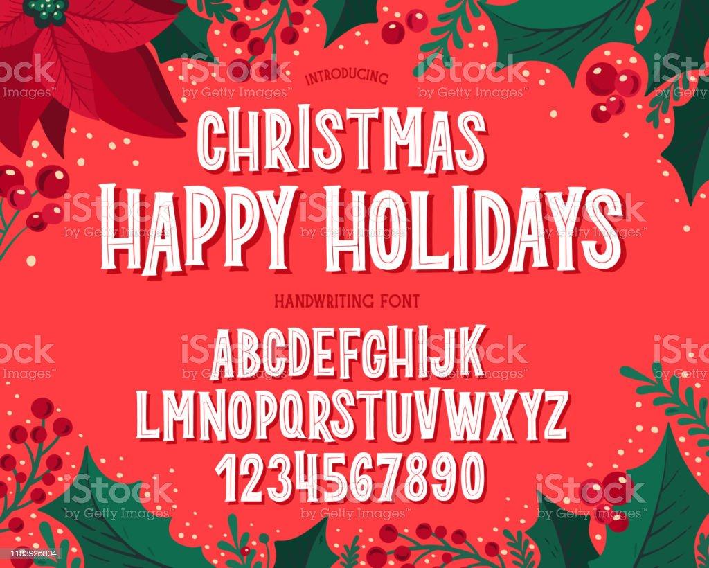 Fonte de Natal. Alfabeto da tipografia do feriado com ilustrações festivas e desejos da estação. - Vetor de Coleção royalty-free