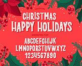 クリスマスフォント。お祝いのイラストや季節の願いと休日のタイポグラフィアルファベット。