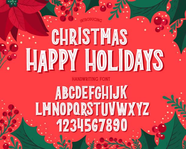 クリスマスフォント。お祝いのイラストや季節の願いと休日のタイポグラフィアルファベット。 - クリスマス点のイラスト素材/クリップアート素材/マンガ素材/アイコン素材