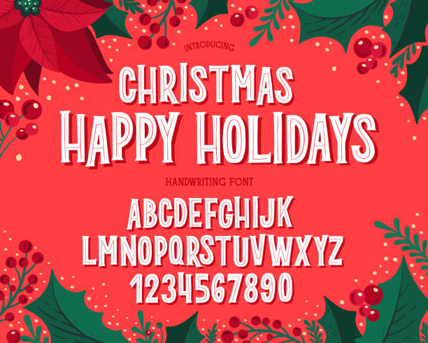 Christmas font. Holiday typography alphabet with festive illustrations and season wishes. Christmas font. Holiday typography alphabet with season wishes and festive illustrations. Type design for holiday new year celebration. Design vector background with hand-drawn lettering. noel stock illustrations