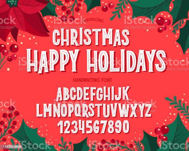 Vetores de Fonte De Natal Alfabeto Da Tipografia Do Feriado Com Ilustrações Festivas E Desejos Da Estação e mais imagens de Coleção