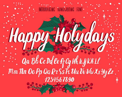 Christmas font. Holiday typography alphabet with season wishes and festive illustrations.