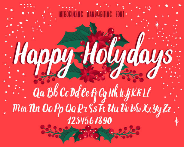 Christmas font. Holiday typography alphabet with season wishes and festive illustrations. Christmas font. Holiday typography alphabet with season wishes and festive illustrations. Handwritten script for holiday new year celebration. Design vector with hand-drawn lettering. svg stock illustrations