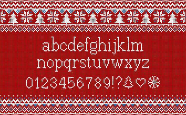 クリスマス フォントです。雪と fir シームレス ニット パターンのニットのラテン系のアルファベット。北欧なフェアアイル ニット、冬の休日のセーターのデザイン。ベクトルの図。 - 編む点のイラスト素材/クリップアート素材/マンガ素材/アイコン素材