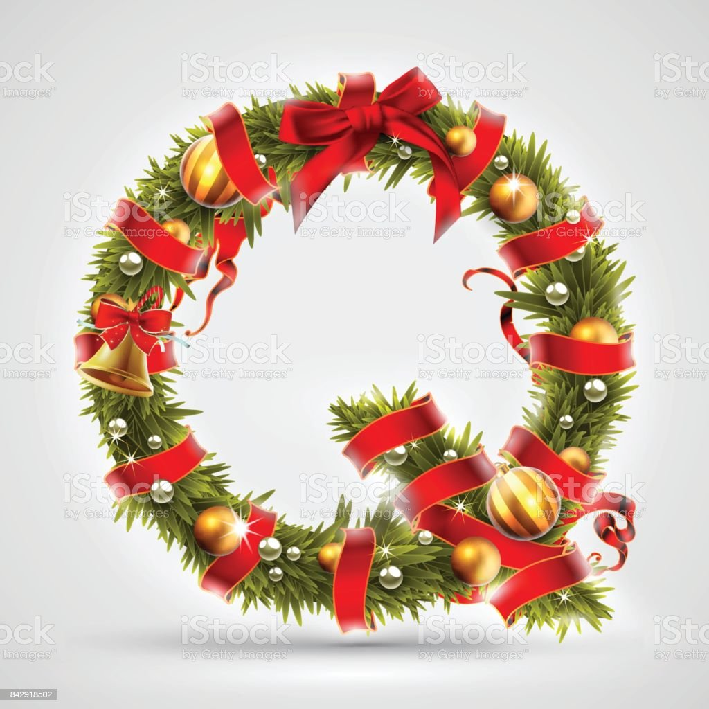 Christmas font. Letter Q of Christmas tree branches, decorated with a red  ribbon and