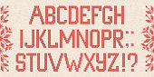 Christmas Font: Scandinavian style  knitted letters and pattern.