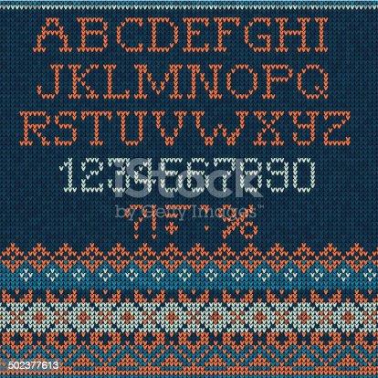 istock Christmas Font: Scandinavian style seamless knitted 502377613