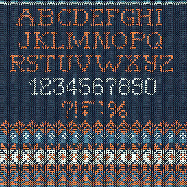 Christmas Font: Scandinavian style seamless knitted Similar images alphabet backgrounds stock illustrations