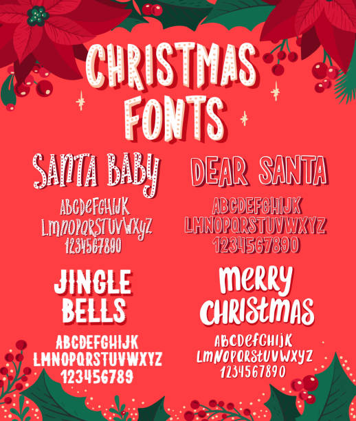 Christmas fonts. Holiday typography alphabet with season wishes and festive illustrations. Set of Christmas fonts. Holiday typography alphabet with season wishes and festive illustrations. Handwritten script for holiday new year celebration. Design vector with hand-drawn lettering. svg stock illustrations