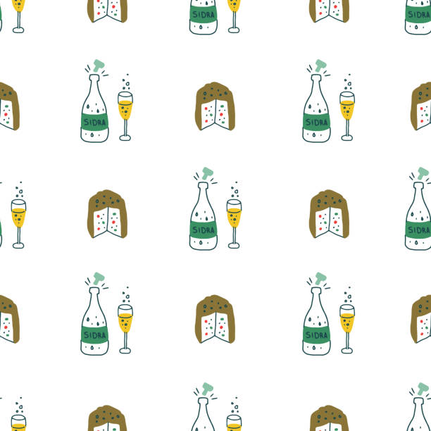 illustrazioni stock, clip art, cartoni animati e icone di tendenza di christmas food and drink. illustrated seamless pattern on white background. - panettone