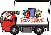 Christmas Food Drive - Text and Food on side of truck are separately grouped objects and can be quickly repositioned or removed for your project.