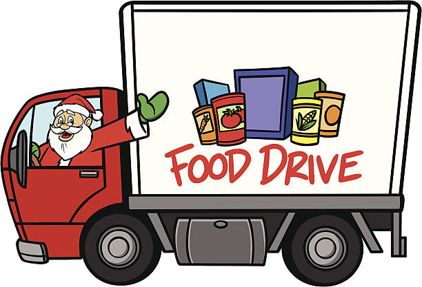 Christmas Food Drive Christmas Food Drive - Text and Food on side of truck are separately grouped objects and can be quickly repositioned or removed for your project. food drive stock illustrations