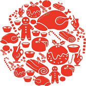 A set of Christmas food icons. Click below for more food and Christmas images.