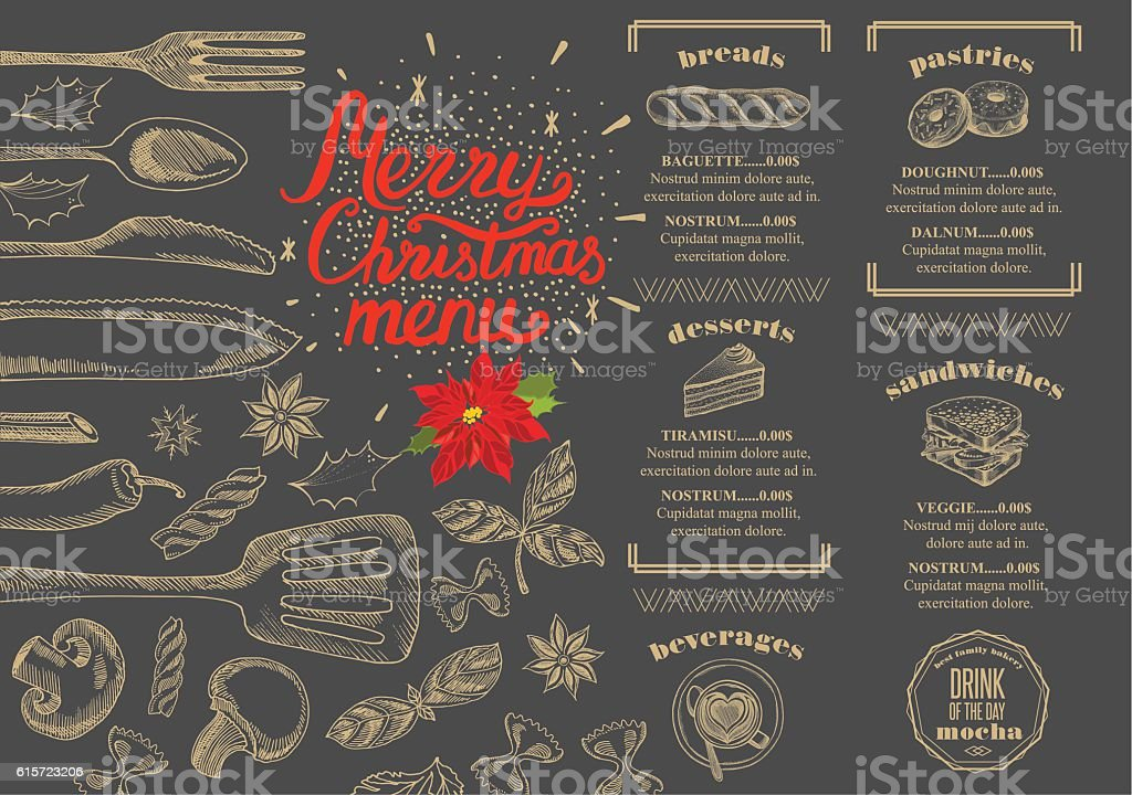 Christmas food menu happy new year party invitation restaurant stock happy new year party invitation restaurant royalty free christmas food stopboris Images