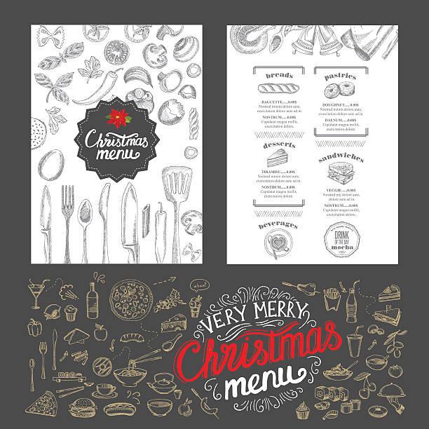 illustrazioni stock, clip art, cartoni animati e icone di tendenza di christmas food menu. happy new year party invitation restaurant. - pranzo di natale