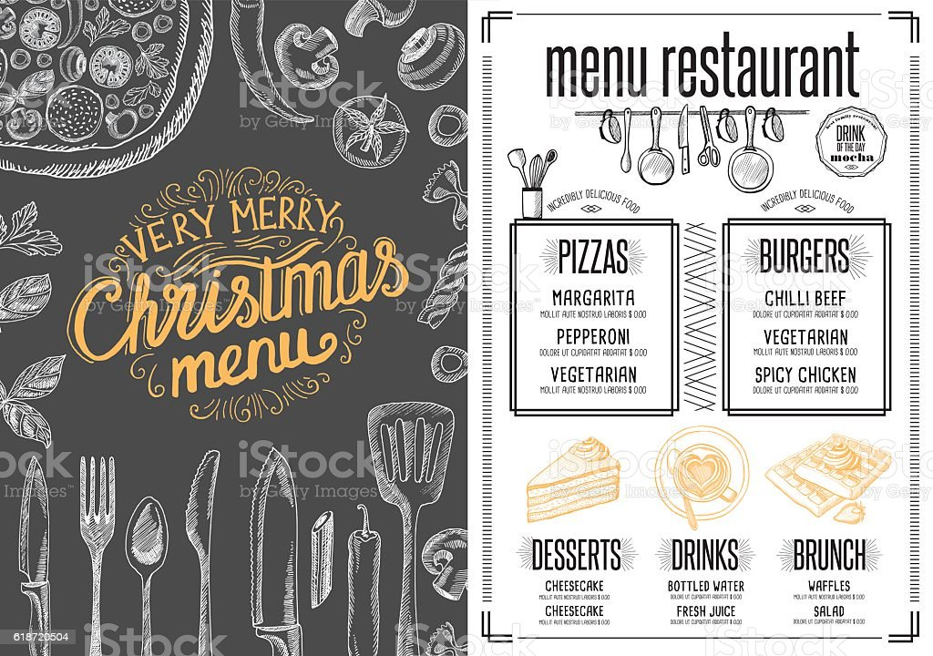 christmas food menu happy new year party invitation restaurant royalty free christmas food