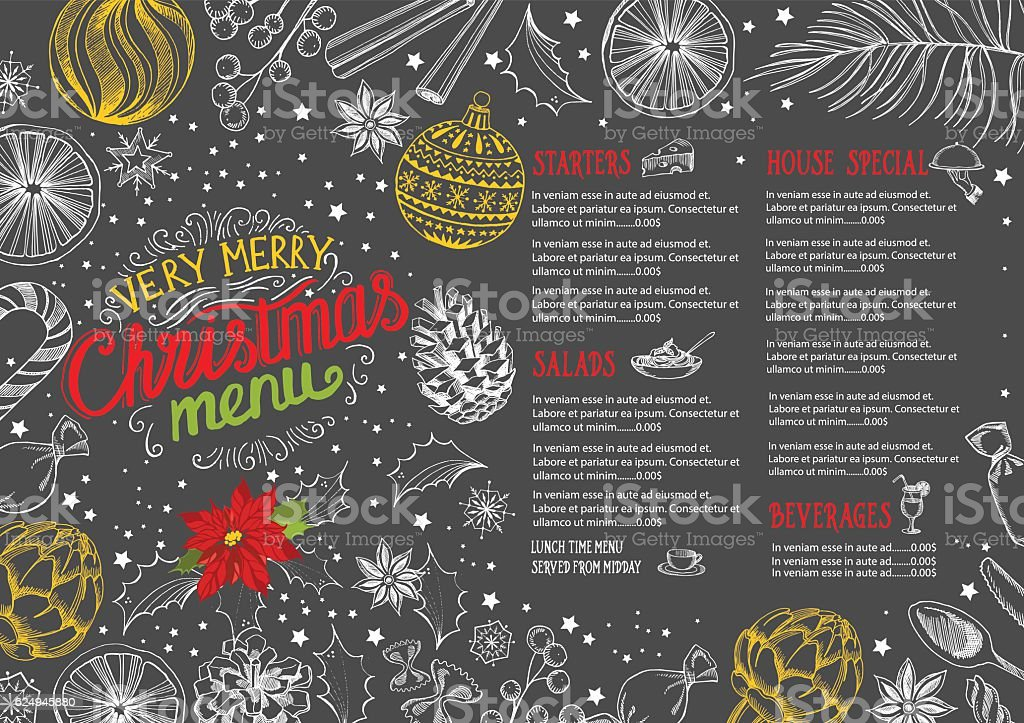 Christmas food menu restaurant. vector art illustration