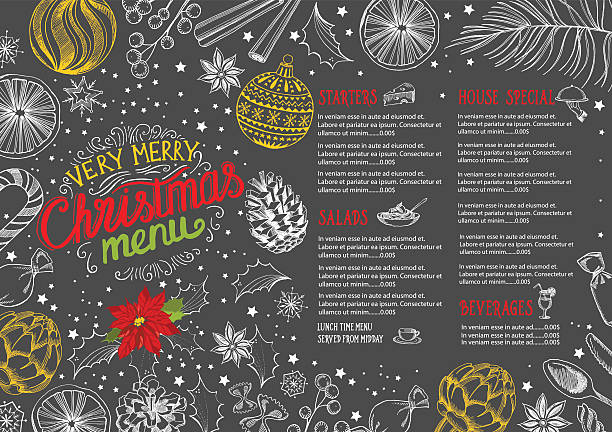 illustrazioni stock, clip art, cartoni animati e icone di tendenza di christmas food menu restaurant. - christmas cooking