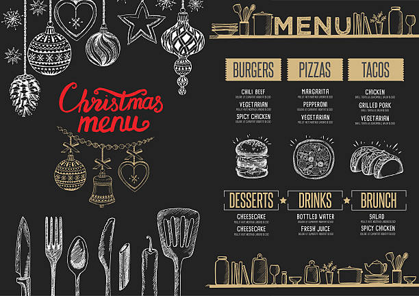 illustrazioni stock, clip art, cartoni animati e icone di tendenza di christmas food menu restaurant. - cena natale