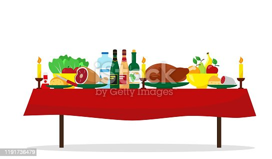 Christmas food on the table. Family holiday dinner table. Vector illustration.