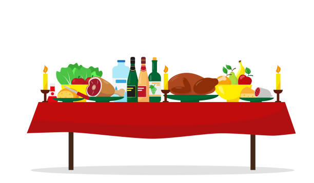 ilustrações de stock, clip art, desenhos animados e ícones de christmas food on the table. family holiday dinner table. vector illustration. - muita comida
