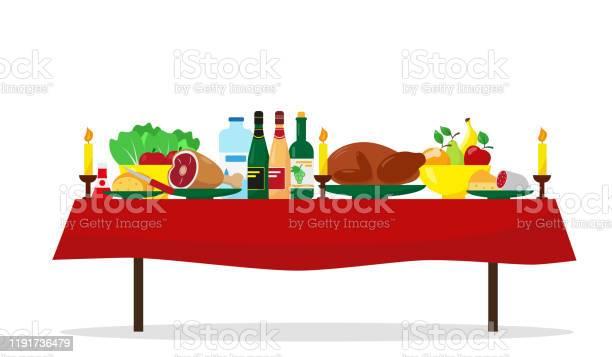Cibo Di Natale Sul Tavolo Tavolo Da Pranzo Per Le Vacanze In Famiglia Illustrazione Vettoriale - Immagini vettoriali stock e altre immagini di Arrosto - Cibo cotto