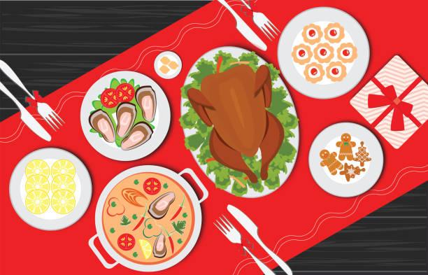 illustrazioni stock, clip art, cartoni animati e icone di tendenza di christmas food on the table, table for festive holiday romantic dinner. - tavola imbandita