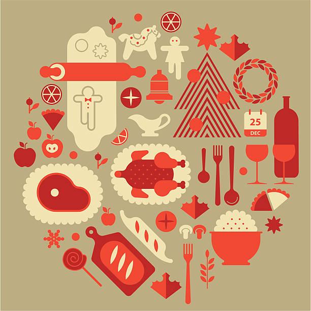 illustrazioni stock, clip art, cartoni animati e icone di tendenza di christmas cibo - christmas cooking