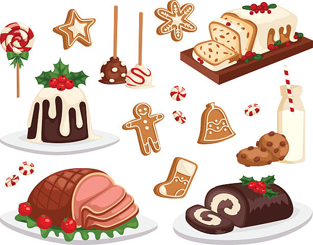 illustrazioni stock, clip art, cartoni animati e icone di tendenza di christmas food vector set. - cena natale