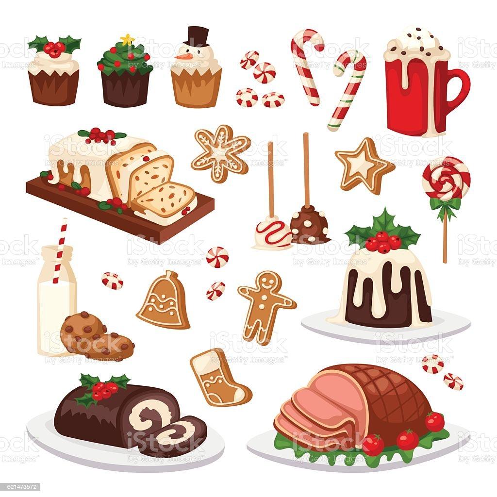 Christmas food vector set. vector art illustration
